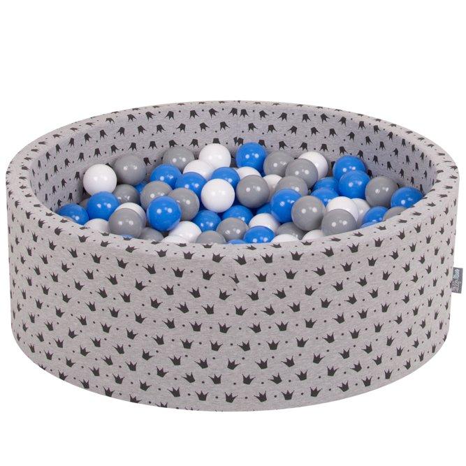 KiddyMoon Bällebad Kugelbad mit bunten Bällen ∅ 7Cm für Babys Kinder Rund  Muster, Schwarz-Grau: Grau-Weiß-Blau