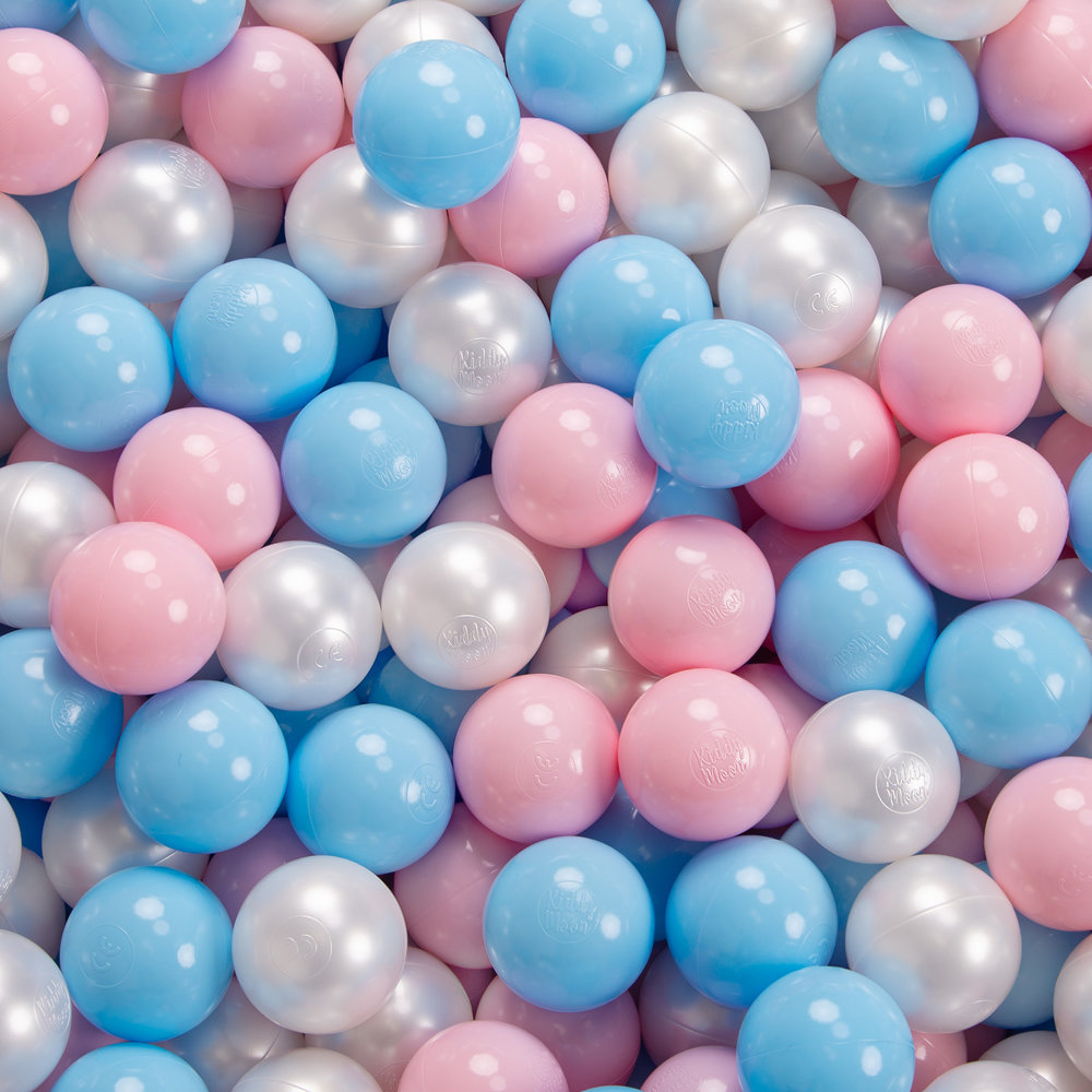 KiddyMoon Plastikb/älle 7cm B/älle Baby blau//Perle